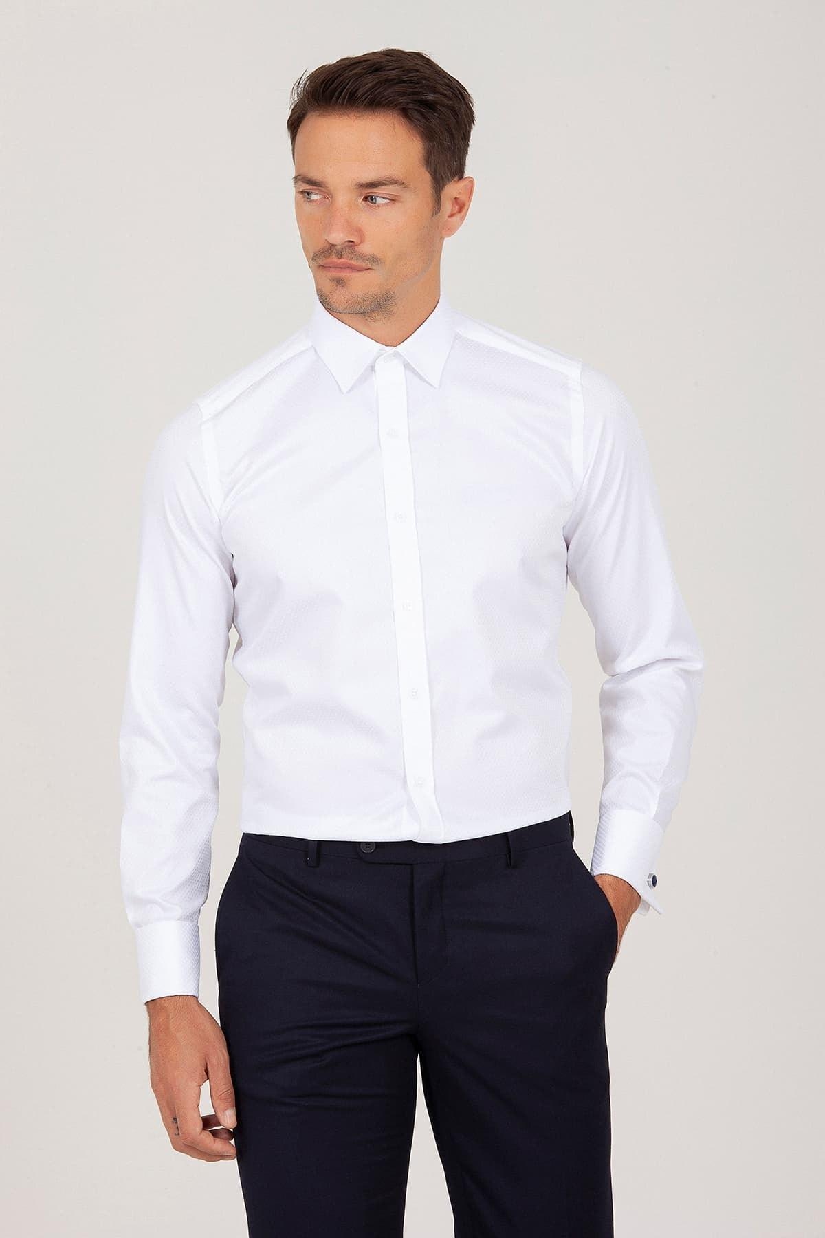 Hatemoğlu Slim Fit Beyaz Gömlek