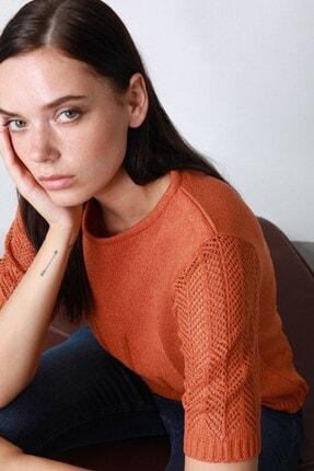 Ferraro Kadın Oranj Yuvarlak Yaka  Triko Kazak