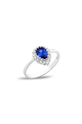 AG SİLVER Yuvarlak Zirkon Taşlı Mavi Gümüş Bayan Yüzüğü