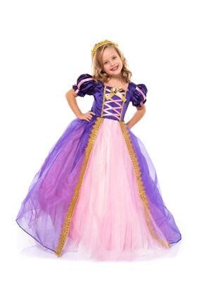 Kostümcü Teyze Rapunzel Kostüm - Taçlı Rapunzel Kostümü - Pelerinli Taclı Rapunzel Kostümü - Tarlatanlı Rapunzel