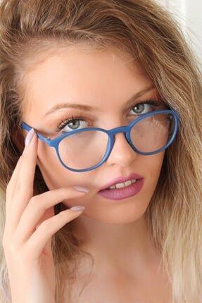 Halvin Kadın Mavi Renk Oval Mat Gözlük
