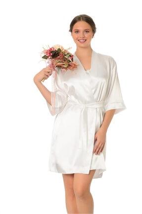 CASUAL DRESS Kadın Ekru Düz Saten Diz Üstü Sabahlık