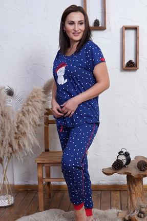 VİENETTA Kadın İndigo Mavi Büyük Beden Örme Kısa Kol Pijama Takım