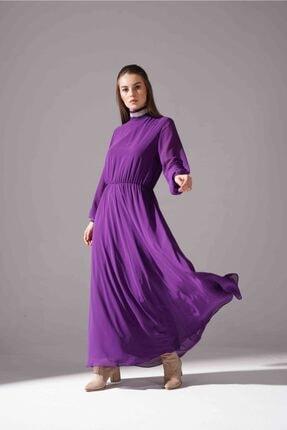 Mizalle Kadın Mor Balıkçı Yaka Şifon Elbise