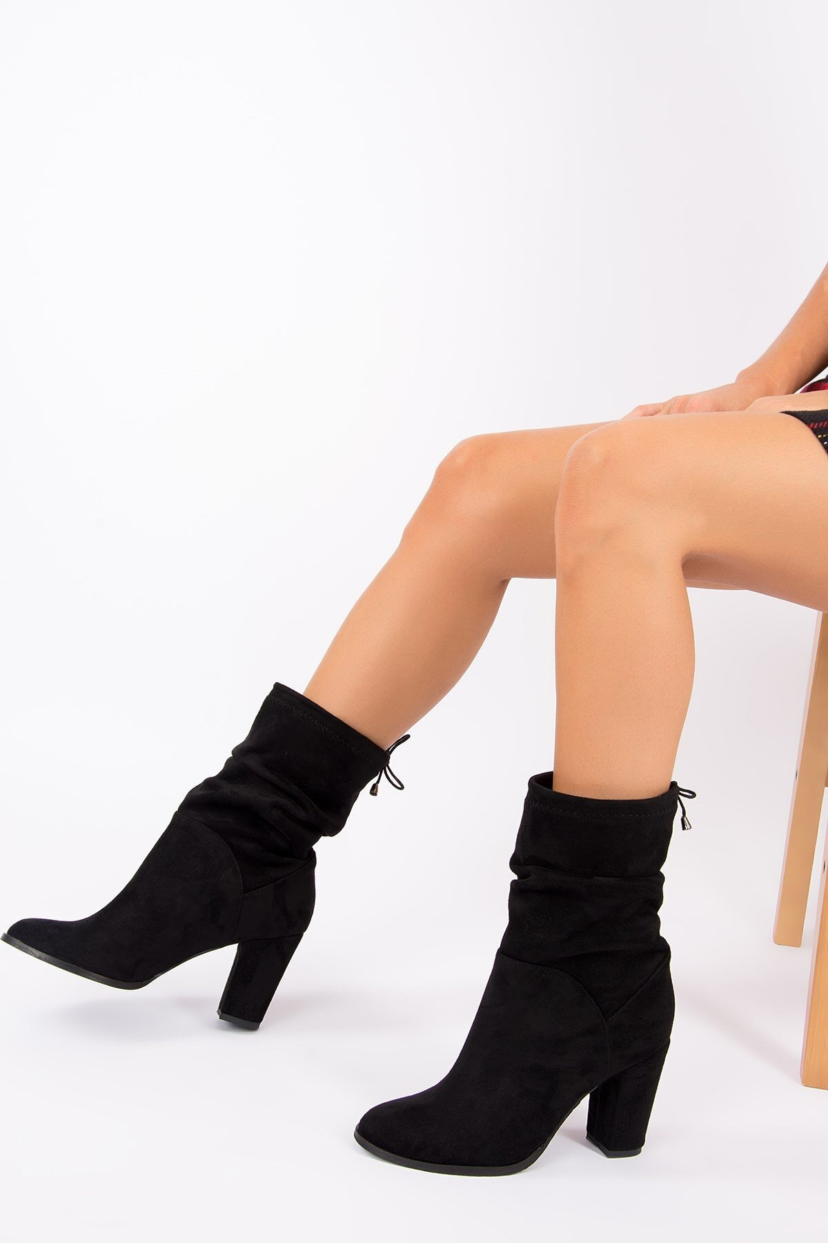 Wenti Shoes Kadın Siyah Süet Topuklu Bot Wenti Ws131 2