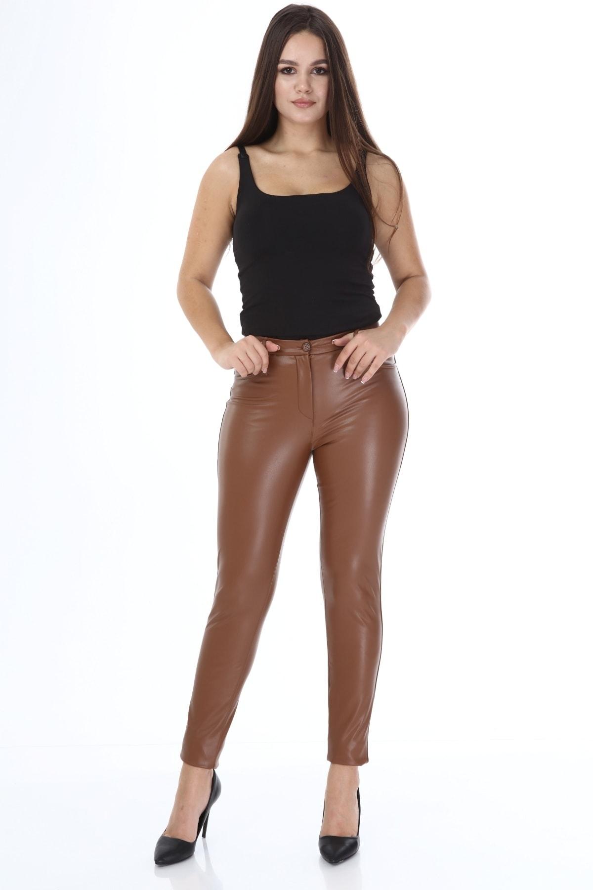 Beril Etek Kadın Camel Deri Pantolon 1
