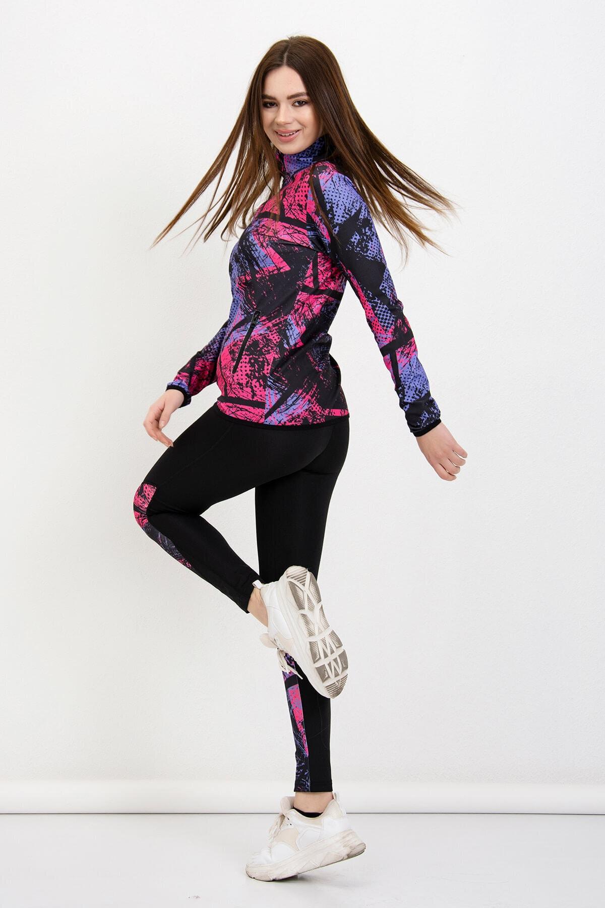 Mossta Kadın Mor Fitness Sporcu Taytlı Eşofman Takım 1