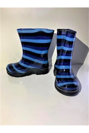Özışıklar Ayakkabı Unisex Çocuk Mavi Çizgili Desenli Yağmurluk Çizme