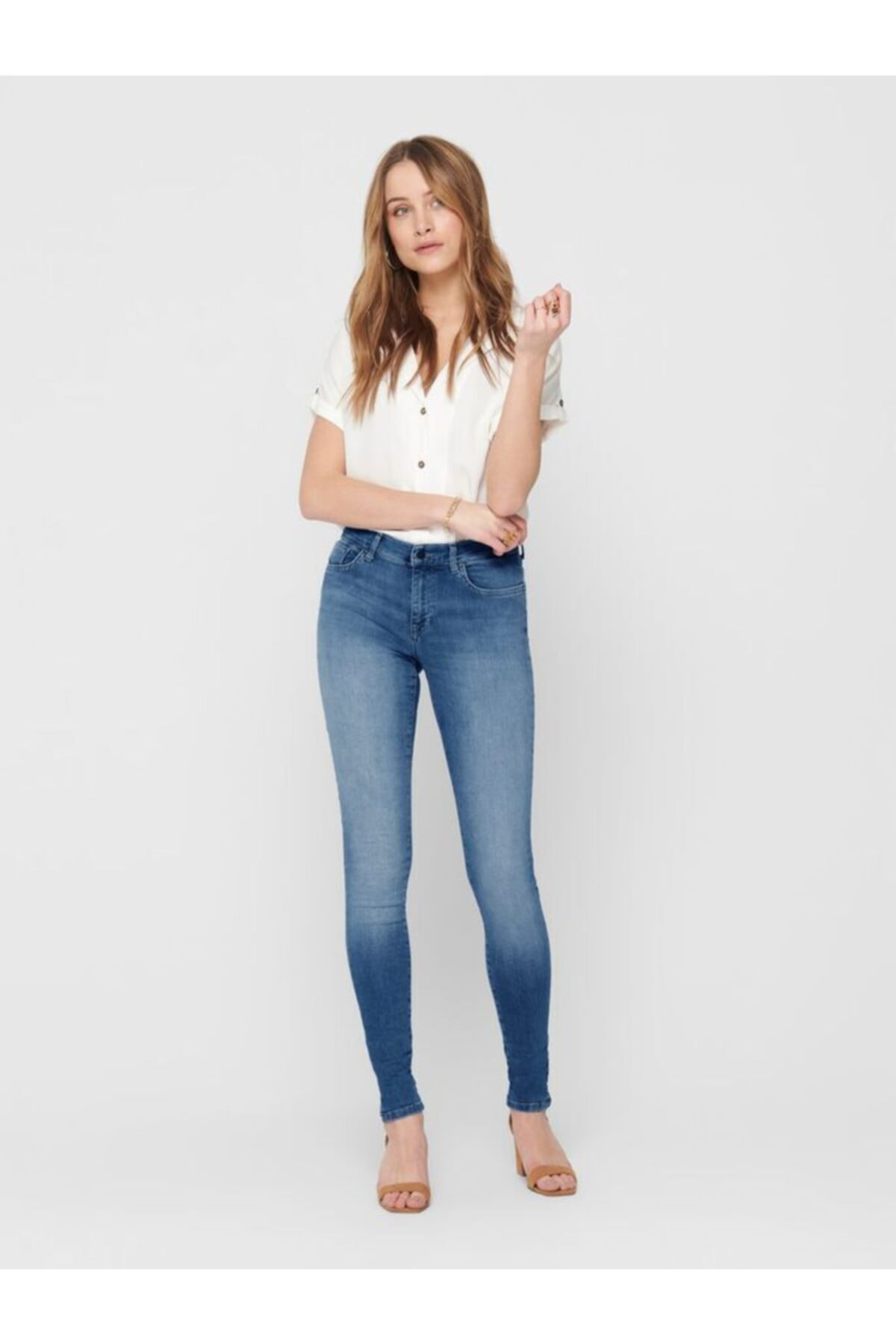 Only Shape Regular Skınny Mavi Taşlama Jeans 1