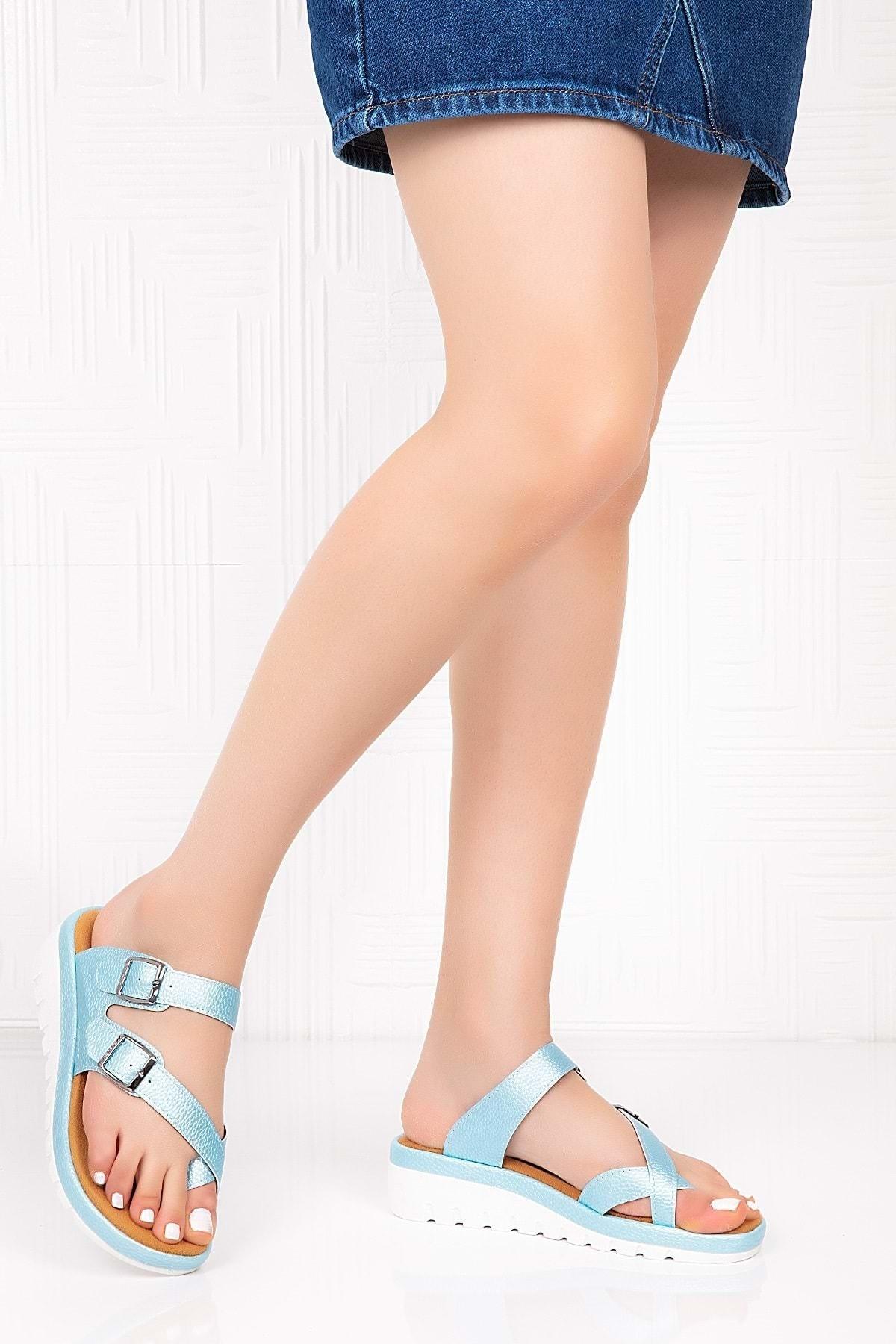 Gondol Kadın Mavi Ortopedik Taban Terlik 1