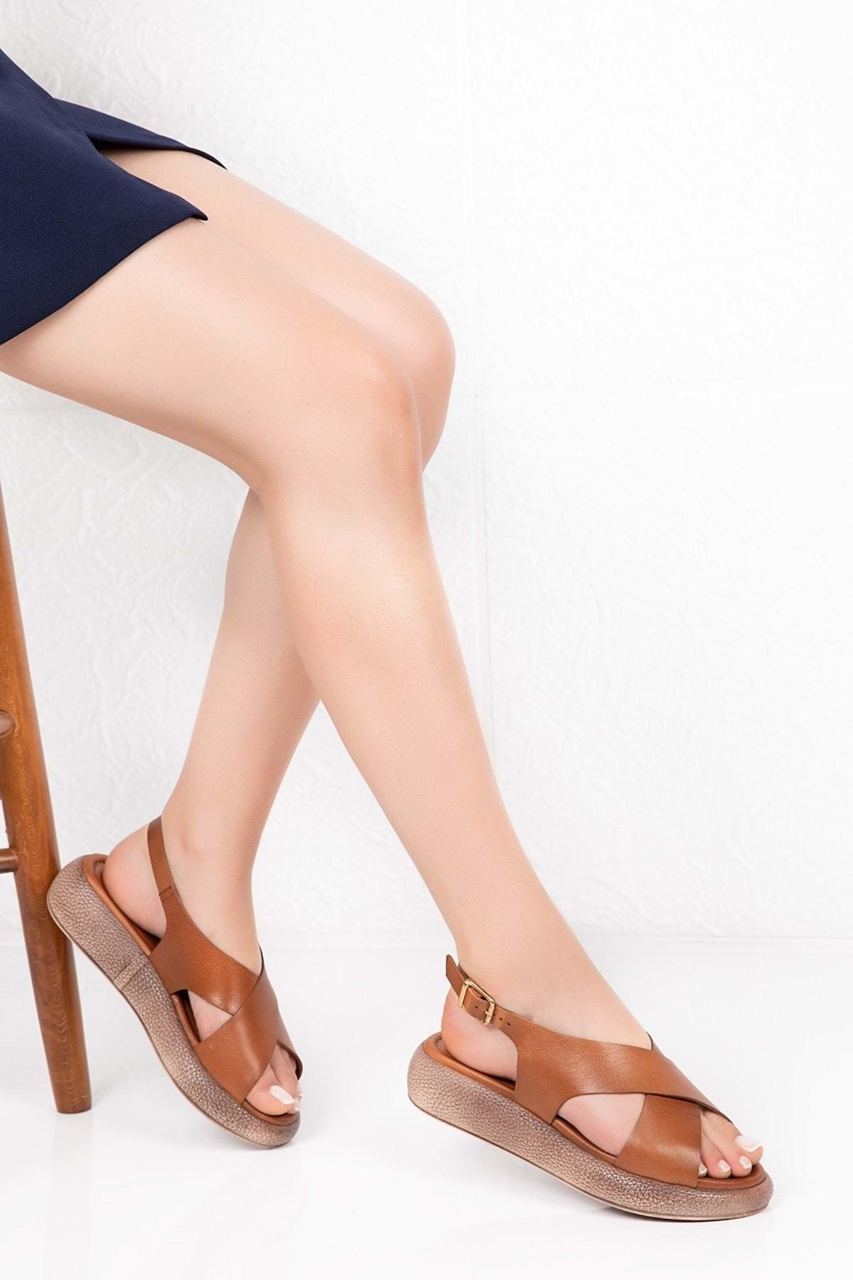 Gondol Kadın Taba Deri Anatomik Taban Sandalet 1