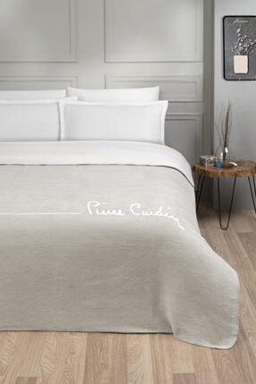 Pierre Cardin Pamuk Battaniye Tek Kişilik Logo Açık Bej