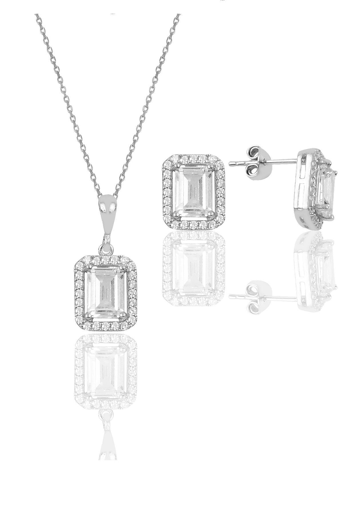 Söğütlü Silver Gümüş Baget Taşlı İkili Set Sgtl10059Rodaj