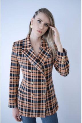 NK Kadın Turuncu Kareli Blazer Ceket