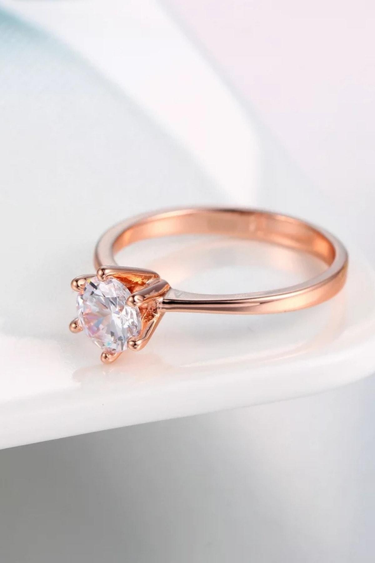 Crystal Diamond Zirconia Işıklı Kutuda Labaratuvar Pırlantası 0.50 Carat Rose Tektaş Yüzük 1