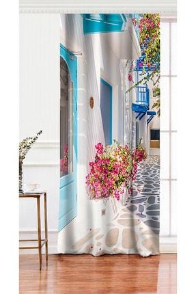Realhomes Tek Kanat Çiçek Temalı Dijital Baskılı Dekoratif Salon Fon Perdesi