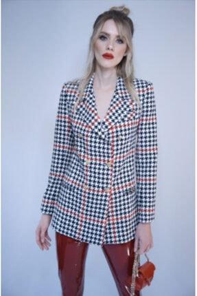 NK Kadın Kırmızı Siyah Kareli Blazer Ceket