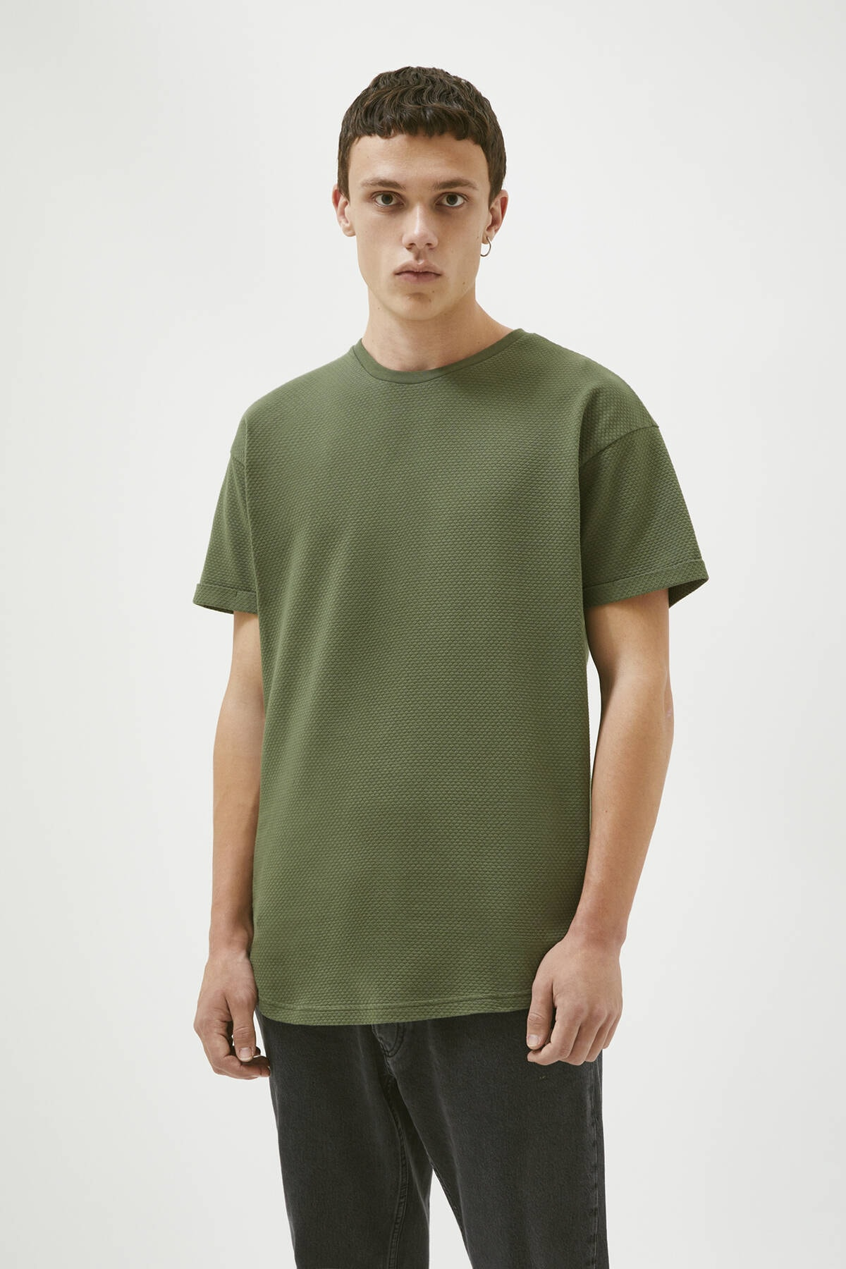 Pull & Bear Erkek Haki Dokulu Muscle Fit T-Shirt 09249556