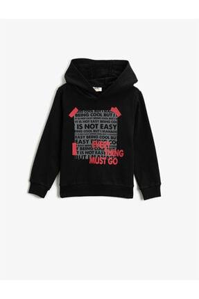 Koton Erkek Çocuk Siyah Yazılı Kapüşonlu Uzun Kollu Sweatshirt