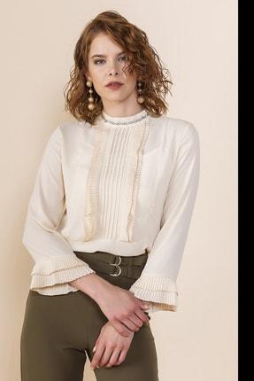 SERPİL Kadın Bej Nervürlü Bluz