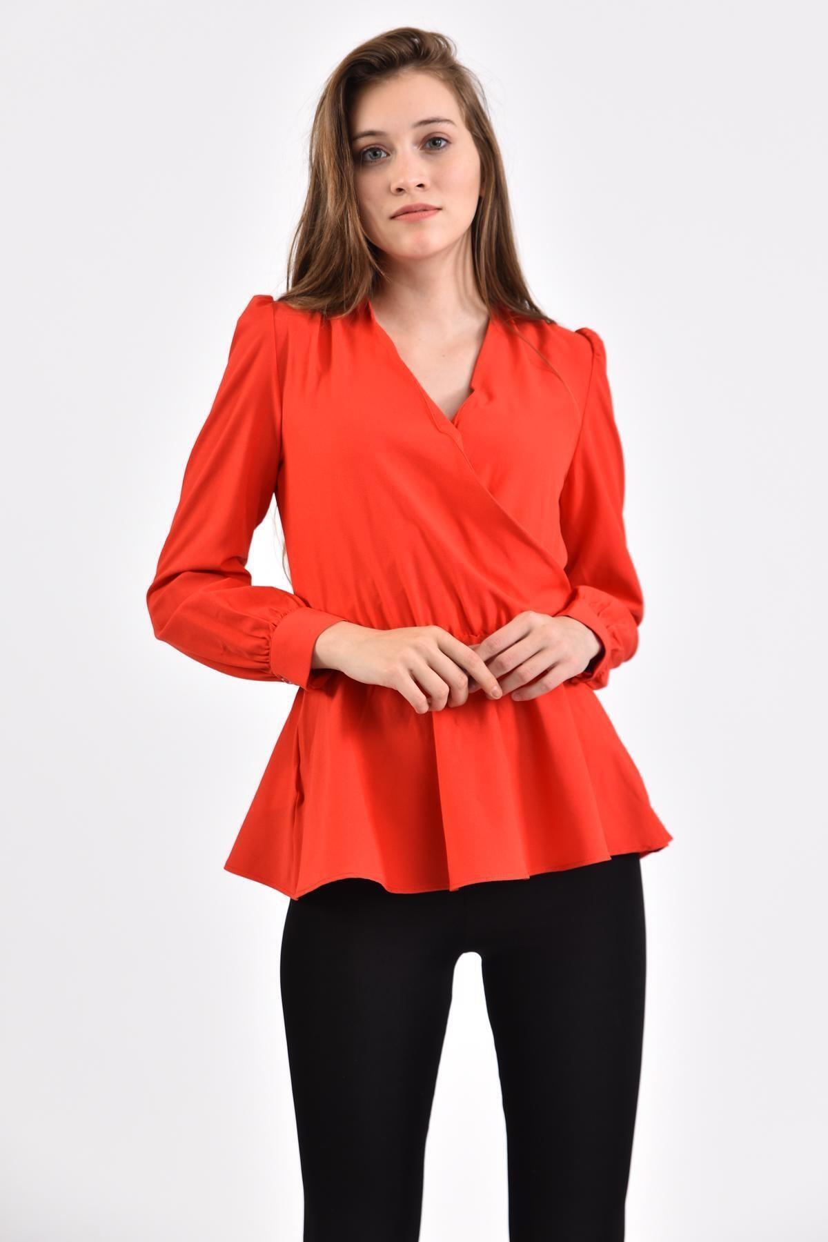İroni Kadın Kırmızı Kruvaze Bluz 2