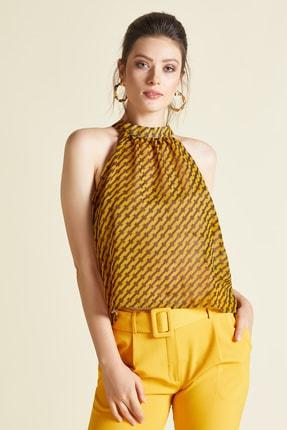 SERPİL Kadın Sarı Desenli Buluz