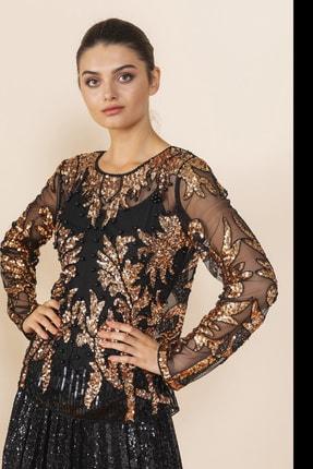 SERPİL Kadın Siyah Payet Detaylı Bluz