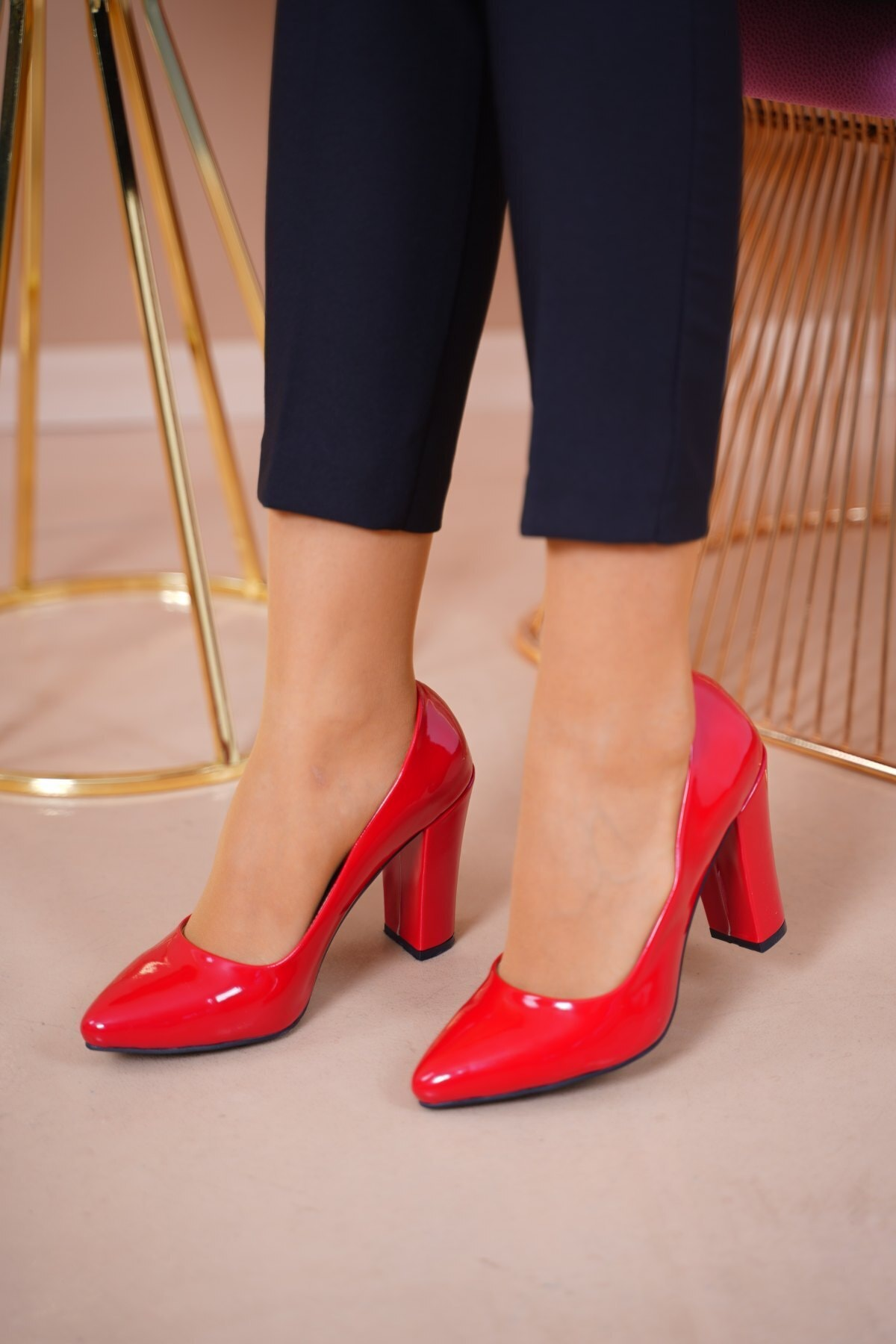 MERVESTORE Kadın Kırmızı Topuklu Ayakkabı 2