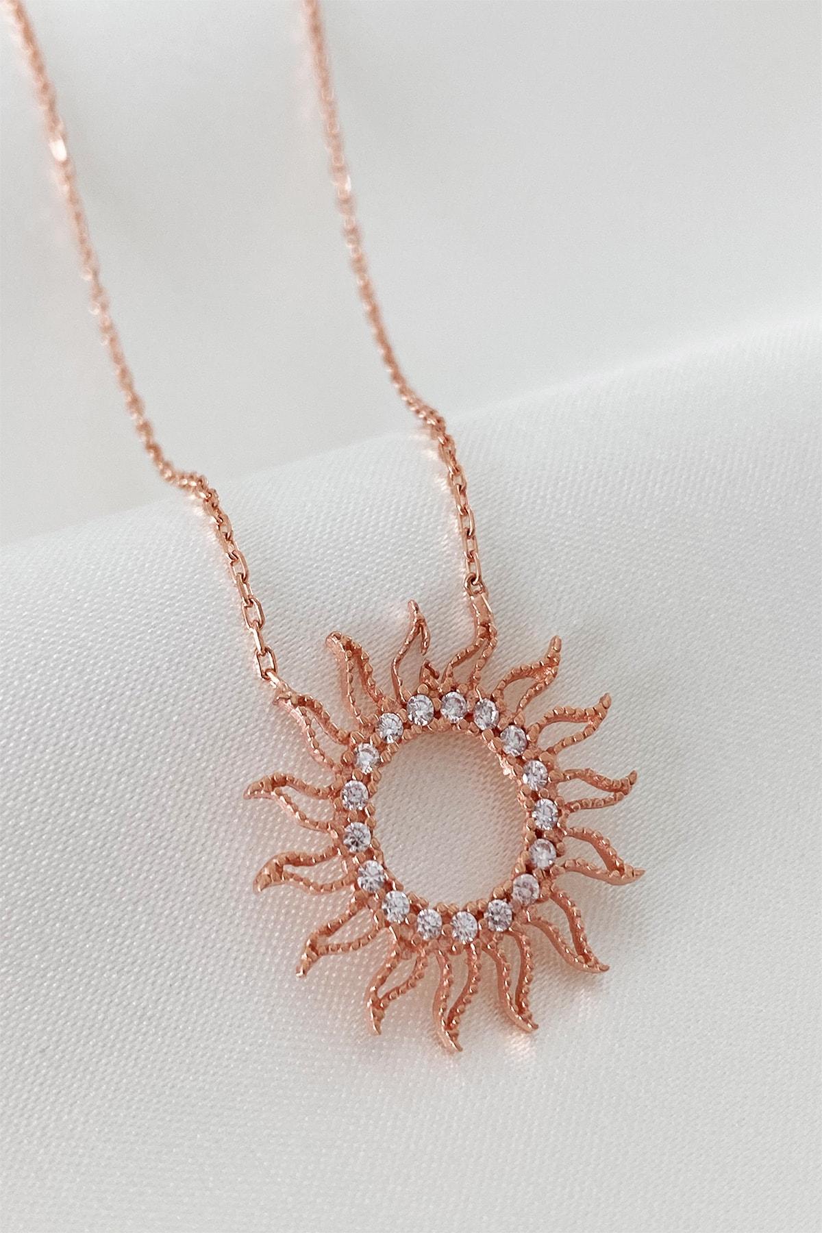 Mia Linda Jewelry Kadın Rose Altın Güneş Gümüş Kolye 1