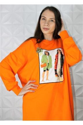 Loreen Sweatshirt Kadın Dijital Baskılı Oranj Renk