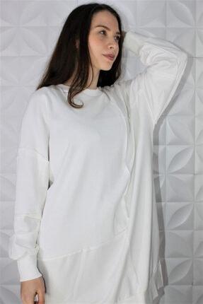 Loreen Kadın Beyaz Fitil Detaylı Sweatshirt