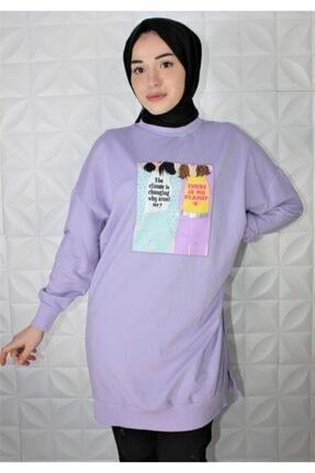 Loreen Kadın Lila Renk Dijital Baskı Sweatshirt