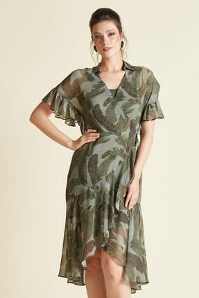 SERPİL Kadın Yaprak Desenli Elbise
