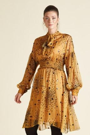 SERPİL Kadın Sarı Yakası Bağcıklı Elbise