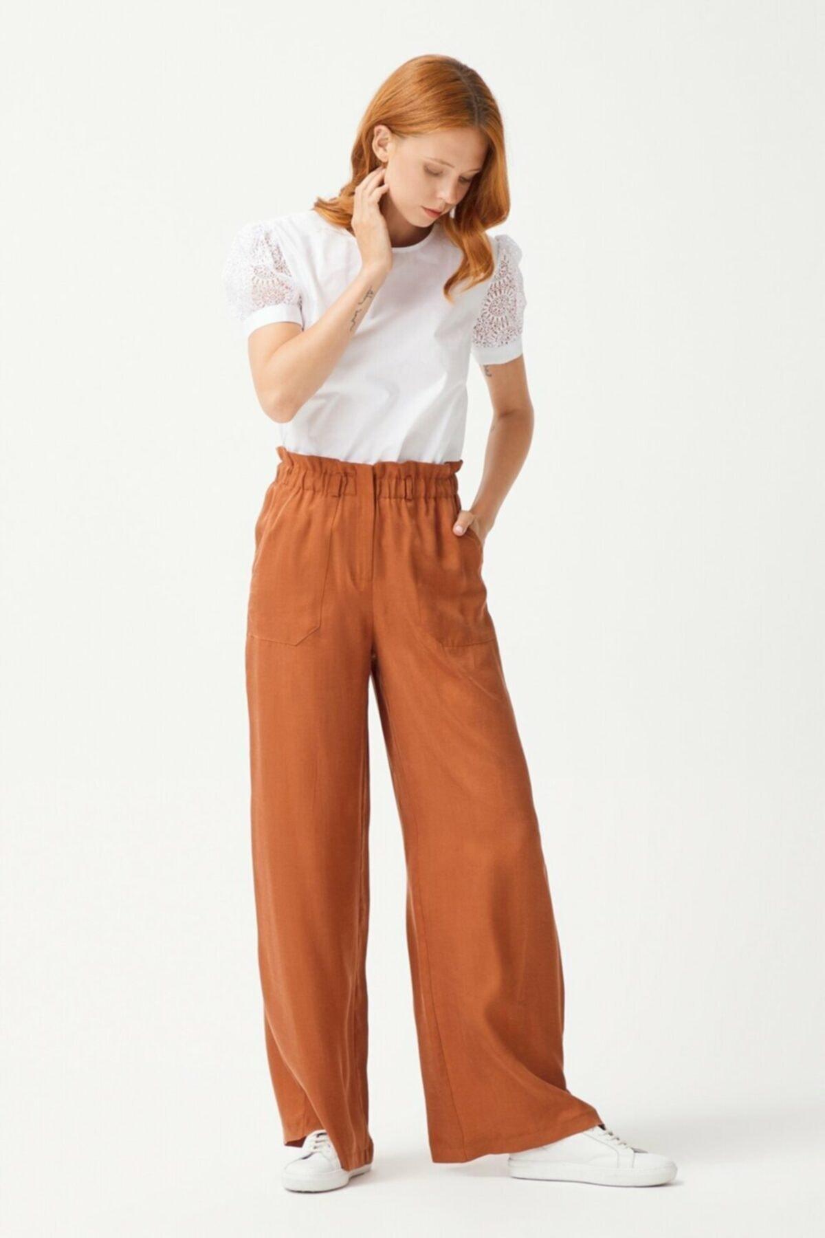 adL Kadın Tarçın Bol Paça Pantolon 1
