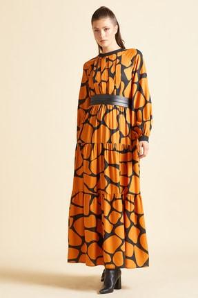 SERPİL Kadın Turuncu Zebra Desenli Elbise