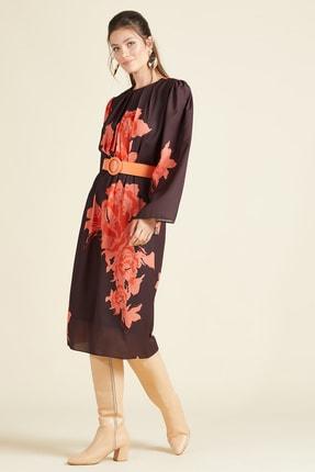SERPİL Kadın Kahverengi Önü Pileli Elbise