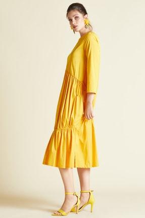 SERPİL Kadın Sarı Bisiklet Yaka Elbise