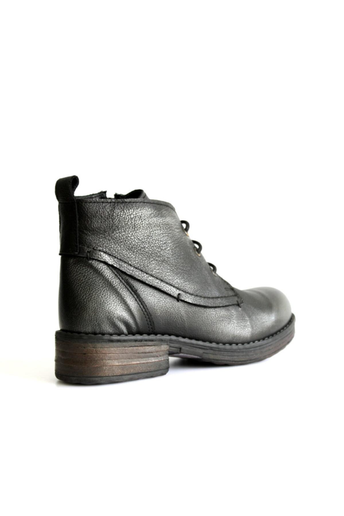 Beta Shoes Bot Hakiki Deri Kadın Gri 2