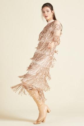 SERPİL Kadın Pembe Saçaklı Elbise