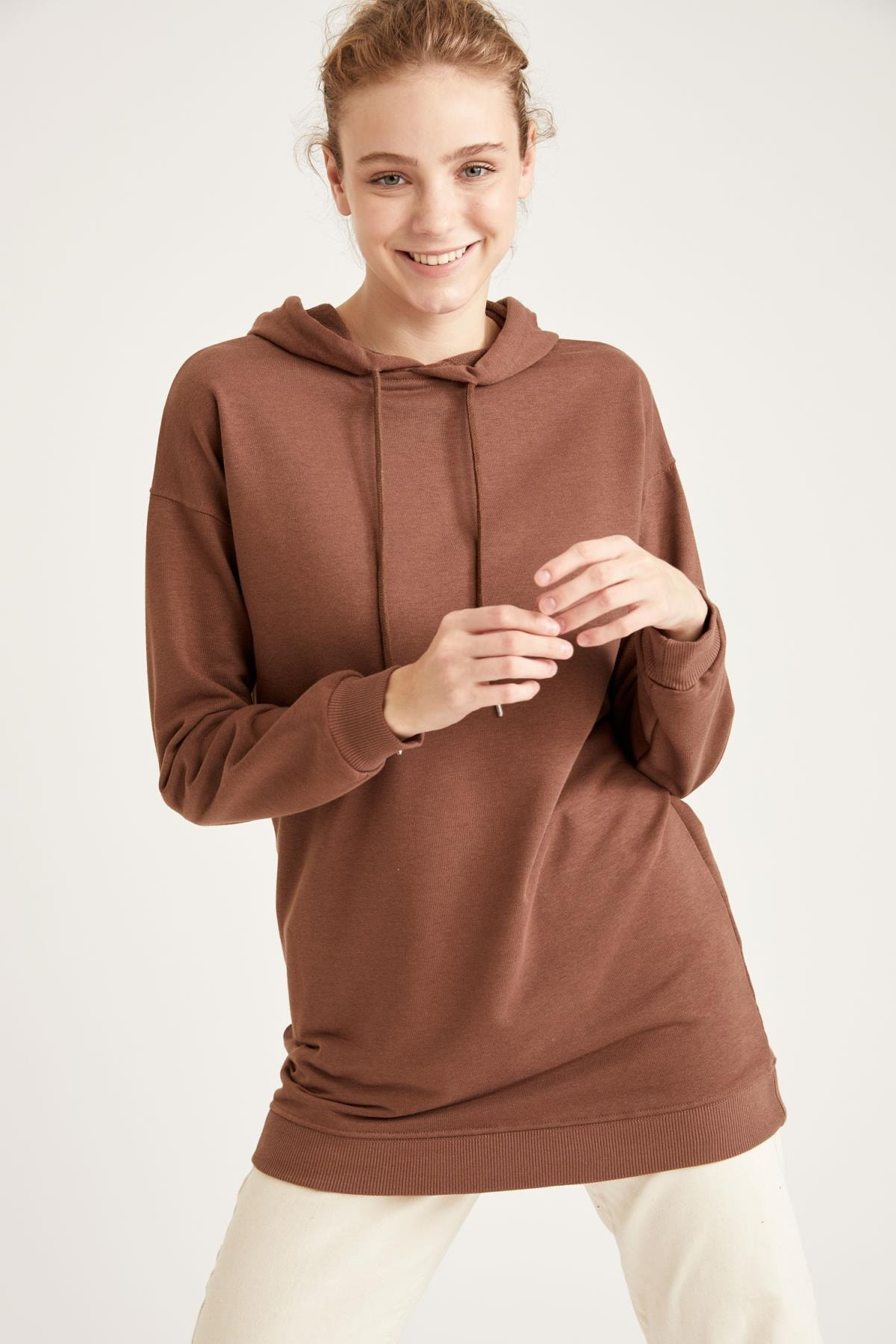 DeFacto Kadın Rose Kapüşonlu Relax Fit Sweat Tunik T4961AZ20WN
