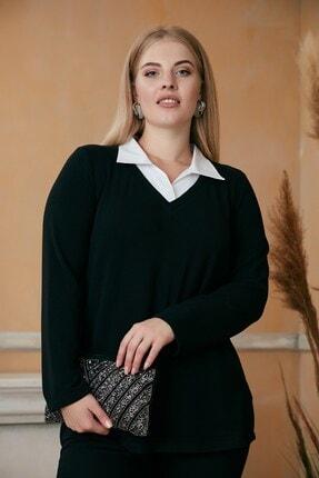 RMG Kadın Siyah Gömlek Yaka Büyük Beden Bluz