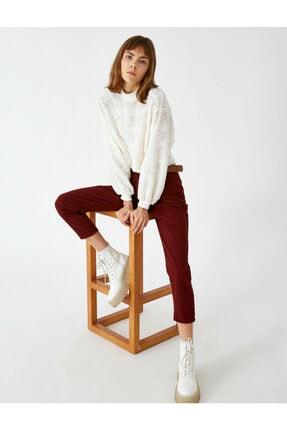 Koton Kadın Bordo Pamuk Kemerli Pantolon
