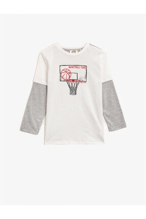Koton Erkek Çocuk Beyaz Bisiklet Yaka Uzun Kollu T-Shirt