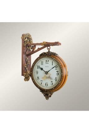 Regal Çift Taraflı Asma Figürlü Ahşap Desen Gar (İstasyon) Dekoratif Duvar Saati 8116 Aı