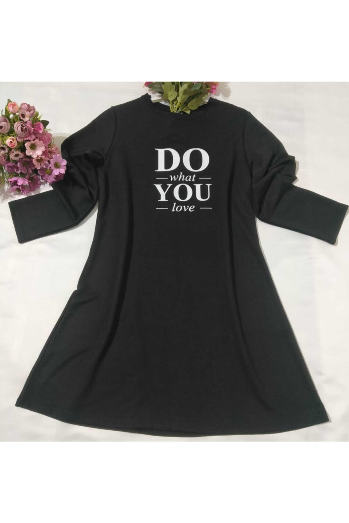 MİSS MODA Kadın Siyah Dou You Baskılı Iki Ip Sweatshirt 1