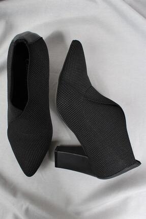 CZ London Kadın Siyah Hakiki Deri Topuklu Ayakkabı