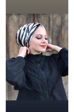 ozvizyon tekstil Kadın Beyaz Kadife Büzgülü Zebra Bone