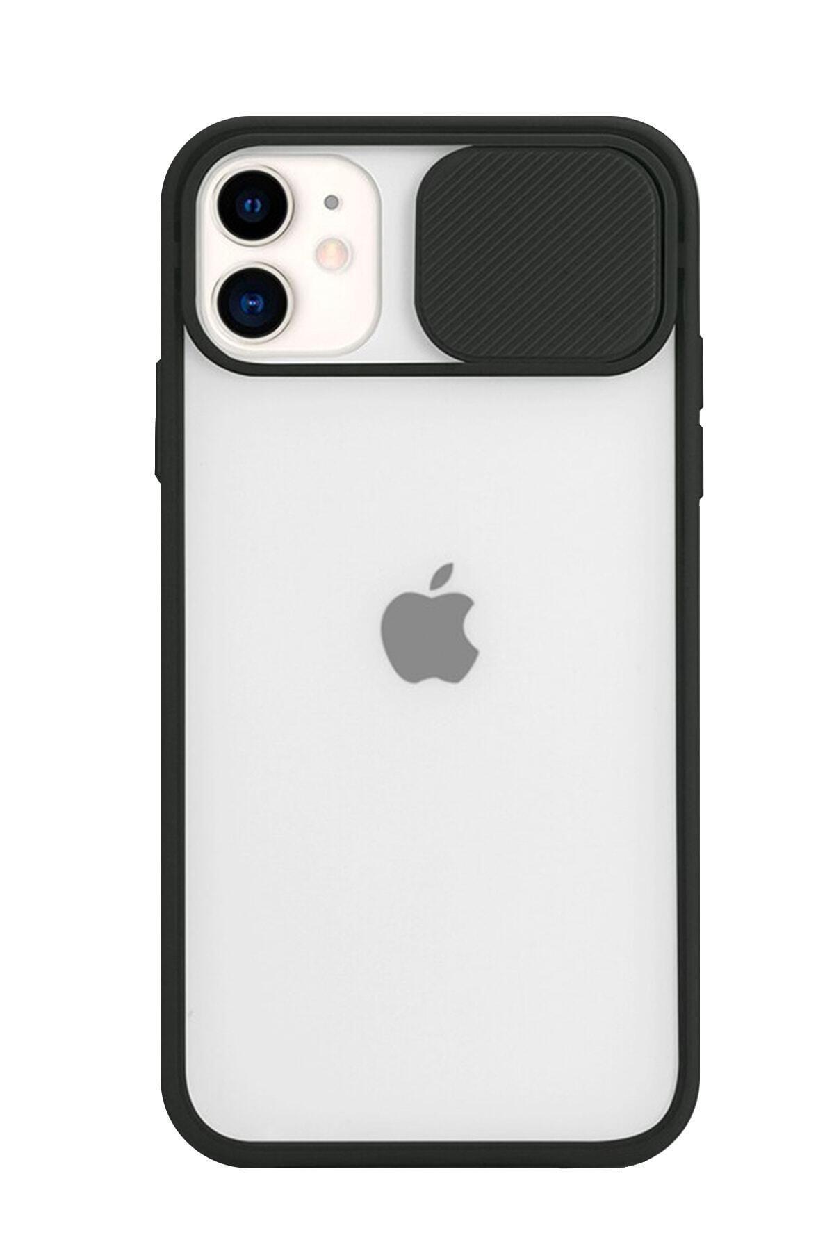 POFHİ Iphone 11 Kamera Slayt Korumalı Siyah Şeffaf Telefon Kılıfı 1
