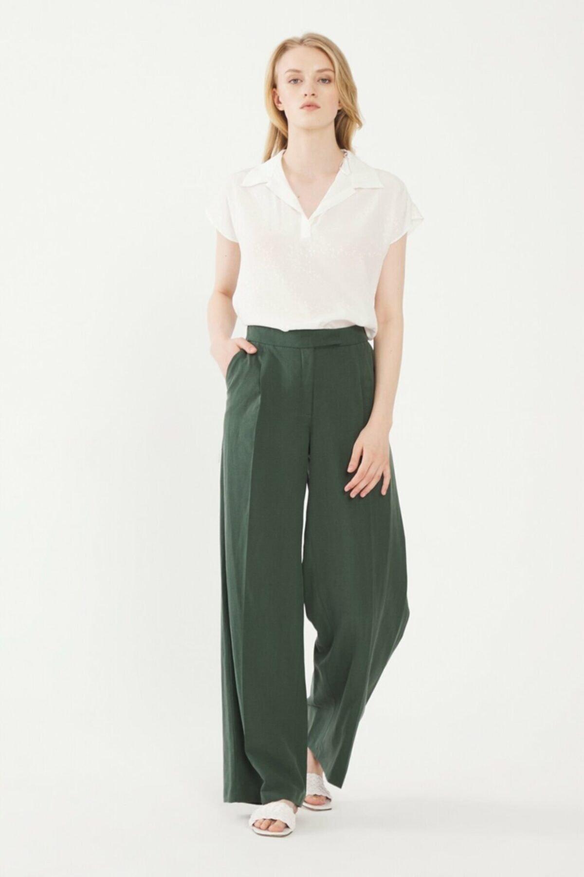 adL Kadın Yeşil Beli Lastikli Pantolon 15338560000009 1